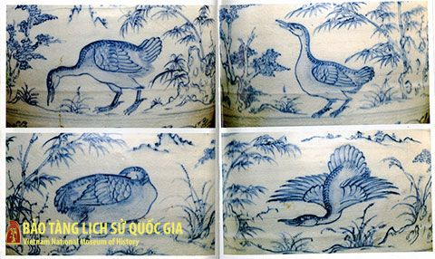 Vietnam National Treasure: Ceramic jug with blue ornaments of swan draw.