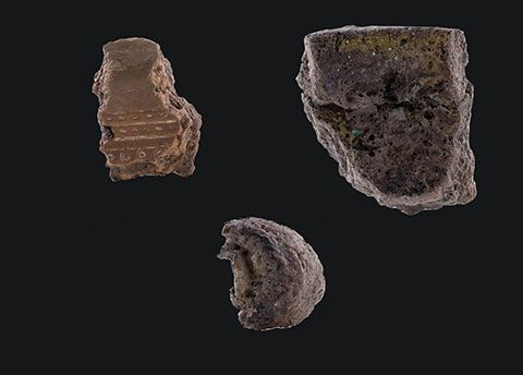 Fragments of bronze drum casting mould and crucible