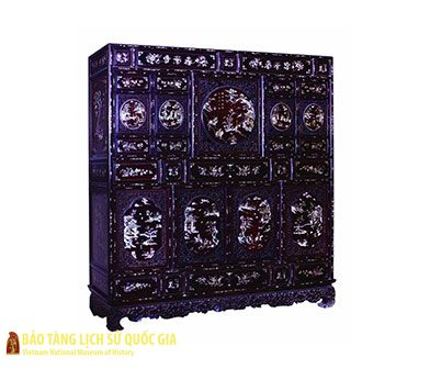 Collection of wooden furniture with mother-of-pearl inlaid decoration